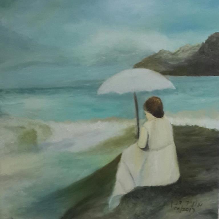 ציור של אשה מול הים