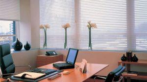 חדר משרד עם וילון