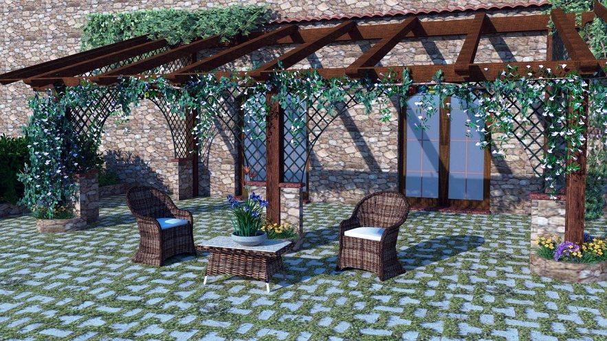 פרגולה בחצר הבנין