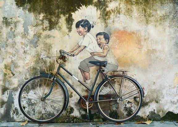 ציור ילדים על אופניים